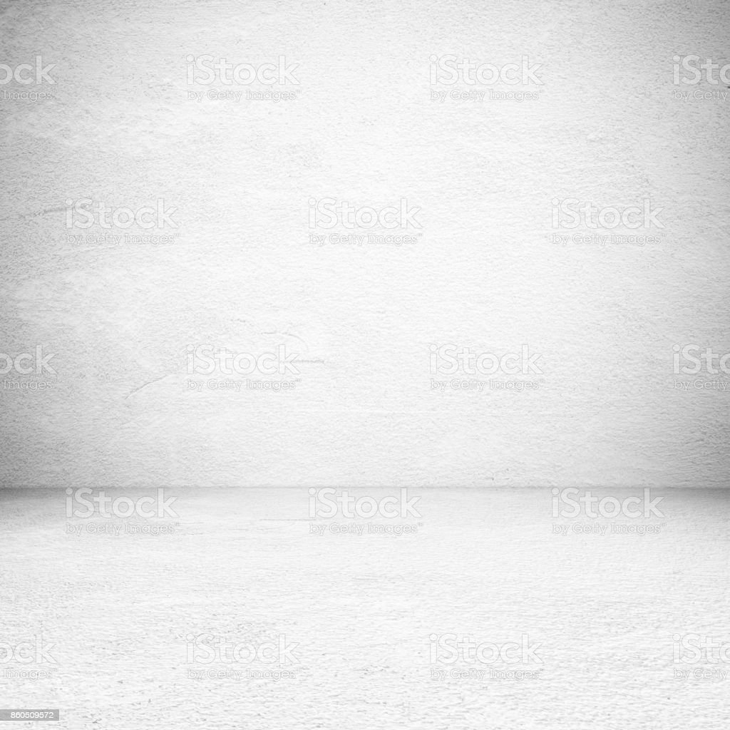 Empty white cement room, background, banner, interior design, product display montage, mock up background stock photo