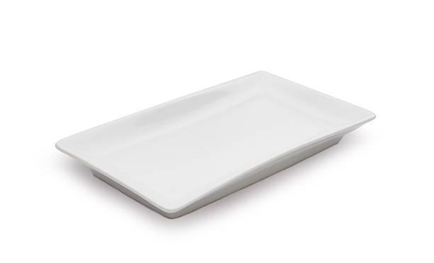 Plat en céramique vide blanc sur fond blanc - Photo