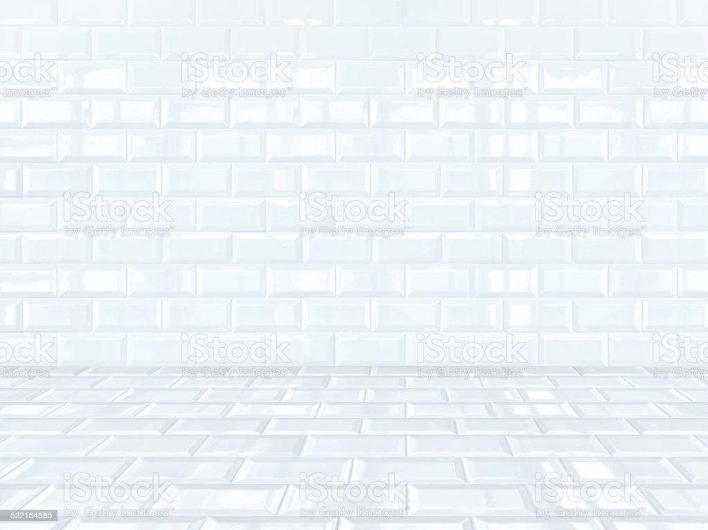 Empty White ceramic tiles brick room stock photo