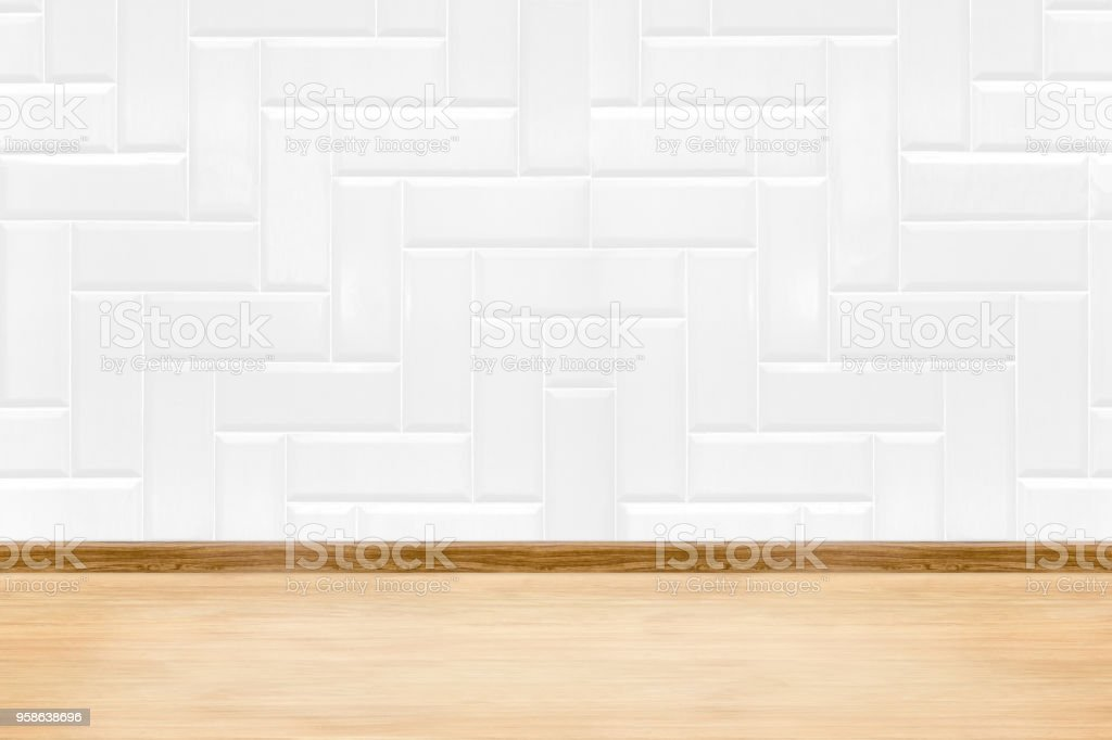 Empty White Clean Ceramic Tile Wall And Wood Floor Backgroundminimal