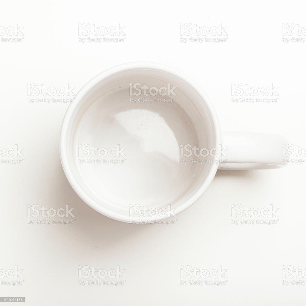 Empty white coffee, tea mug, cup, top view stock photo