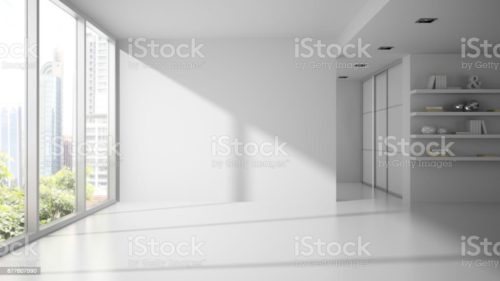 Empty white color room 3D rendering stock photo