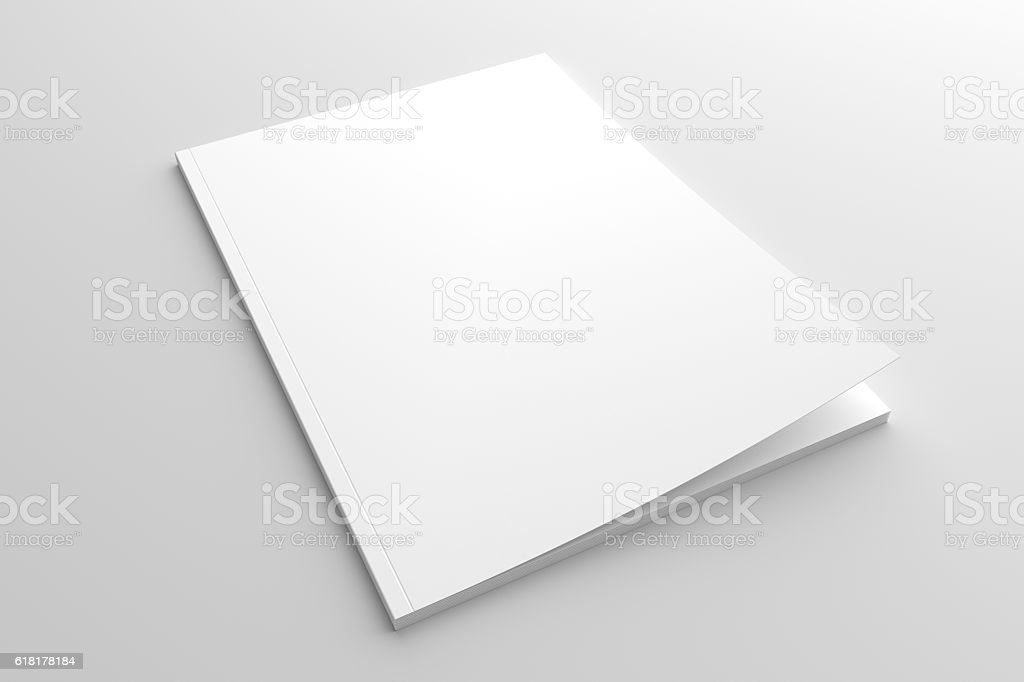Empty white cover magazine 3D illustration mock-up. stock photo