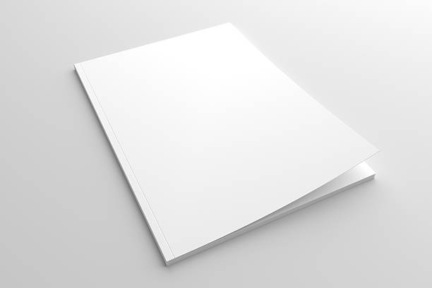 Empty white cover magazine 3D illustration mock-up. - foto stock