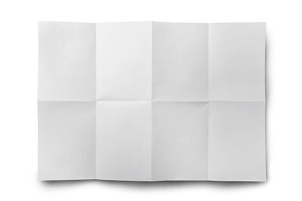 empty white crumpled paper isolate - folded stock photos and pictures
