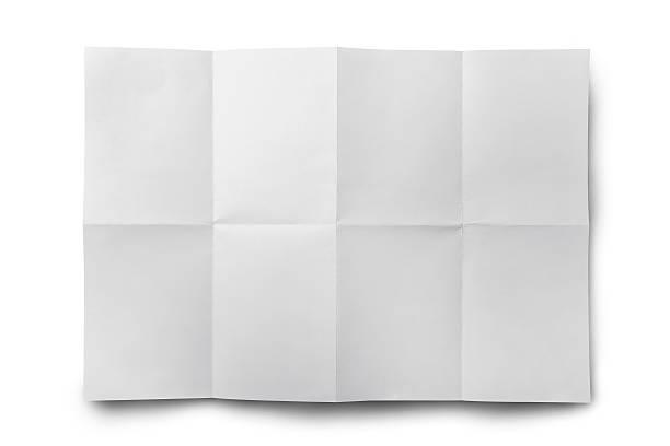 papier isoliert leere weiße faltig - faltpapier stock-fotos und bilder