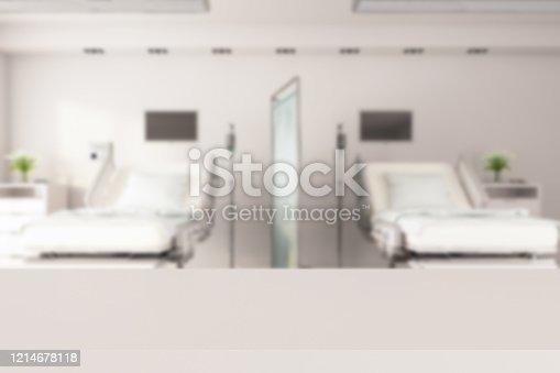 836113142 istock photo Empty White Desk with Blur Hospital Background 1214678118