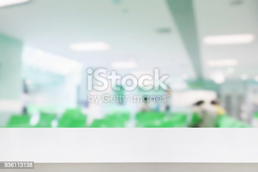 istock Empty white desk with blur hospital background 836113138