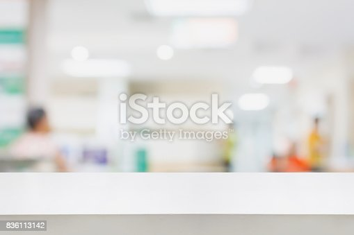 istock Empty white desk with blur hospital background 836113142