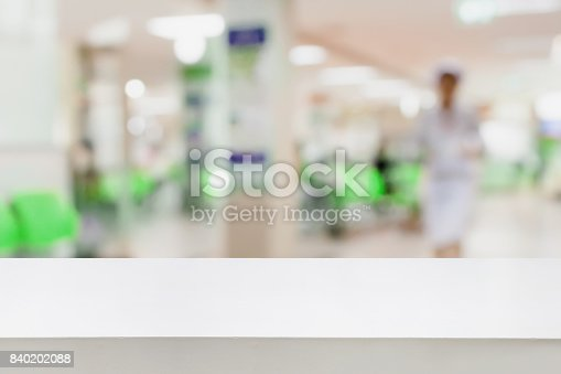 istock Empty white desk with blur hospital background 840202088