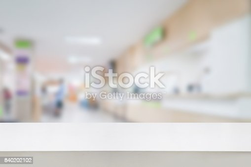 istock Empty white desk with blur hospital background 840202102
