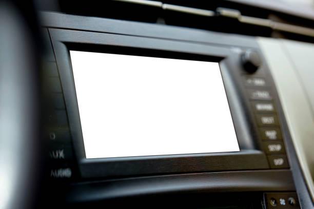 leere weiße display-bildschirm mock-up im auto - auto trennwand stock-fotos und bilder