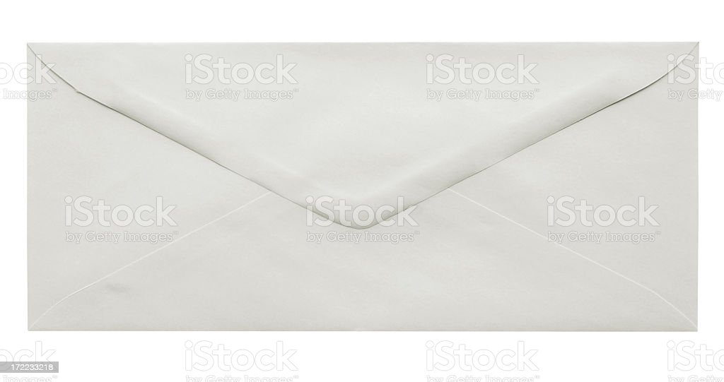 A empty white envelope on a white background royalty-free stock photo