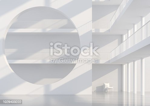 694008266istockphoto Empty white hall modern space interior 3d render 1029403222