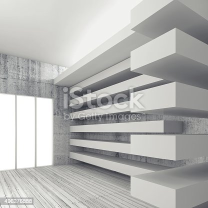 470934084 istock photo Empty white interior background, 3d render 496276888