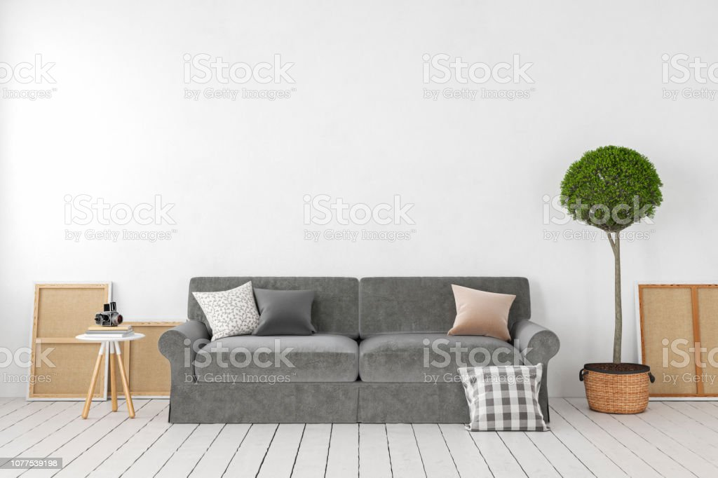 Awesome Empty White Interior Blank Wall With Sofa Plant Tree Pillows Andrewgaddart Wooden Chair Designs For Living Room Andrewgaddartcom