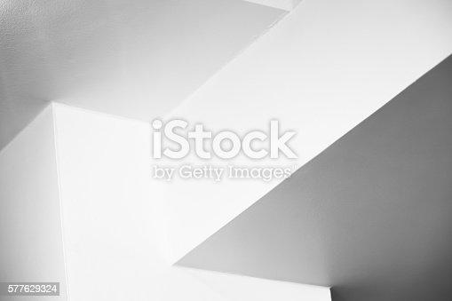 istock Empty white interior design with corners 577629324