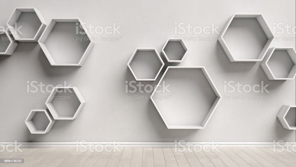 Empty white interior with hexagon shelves on the wall stock photo