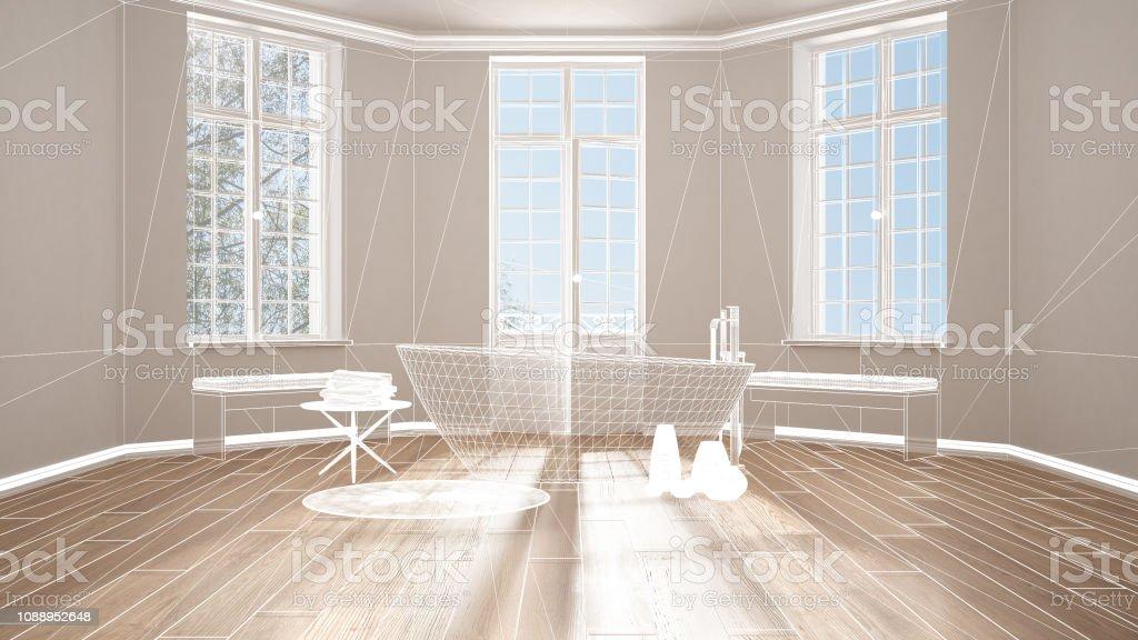 Vide Intérieur Blanc Avec Sol En Parquet Et De Grandes Fenêtres  Panoramiques, Architecture Personnalisée Design