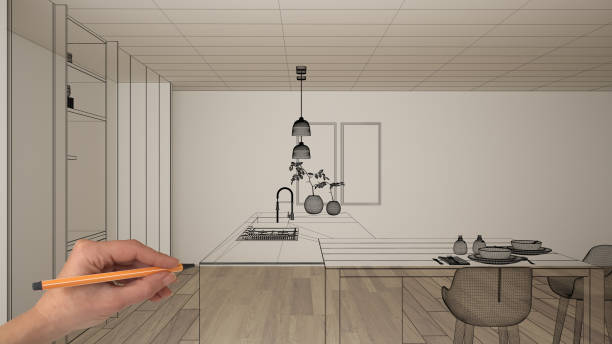 Empty white interior with parquet floor and white walls, hand drawing custom architecture design, black ink sketch, blueprint showing modern minimalist kitchen, concept, mock-up, idea stock photo