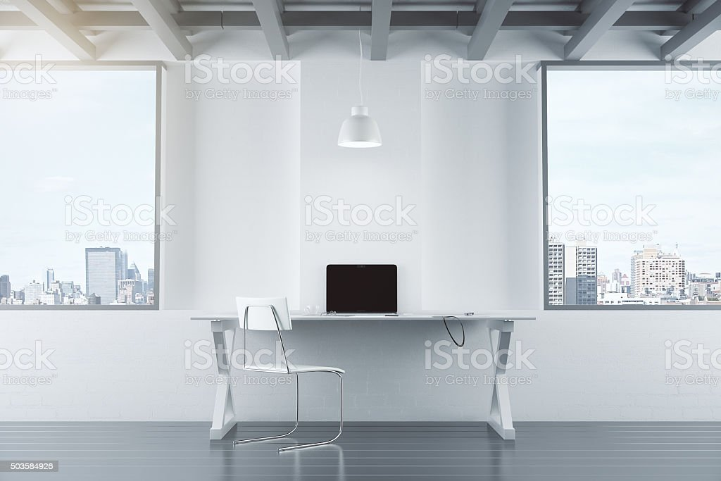 Empty white interior with table, chair, brick wall and windows,