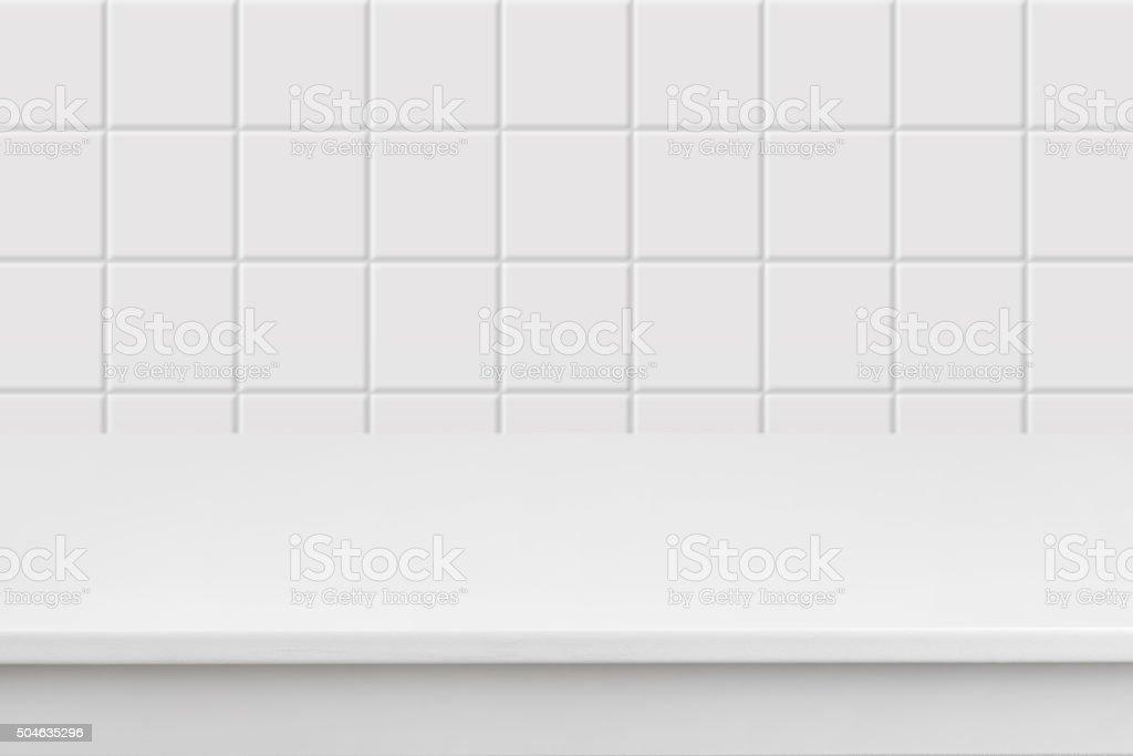 Vazio branco piso laminado de desfocado parede de cerâmica quadrado - foto de acervo