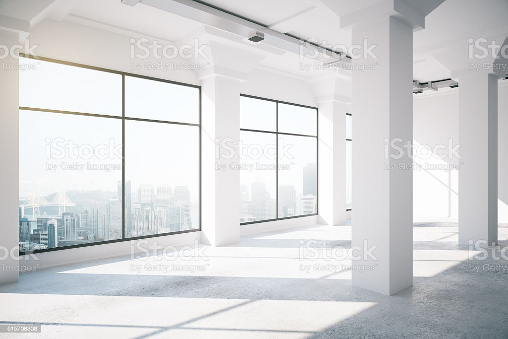 Empty white loft interior with big windows, 3d render stock photo