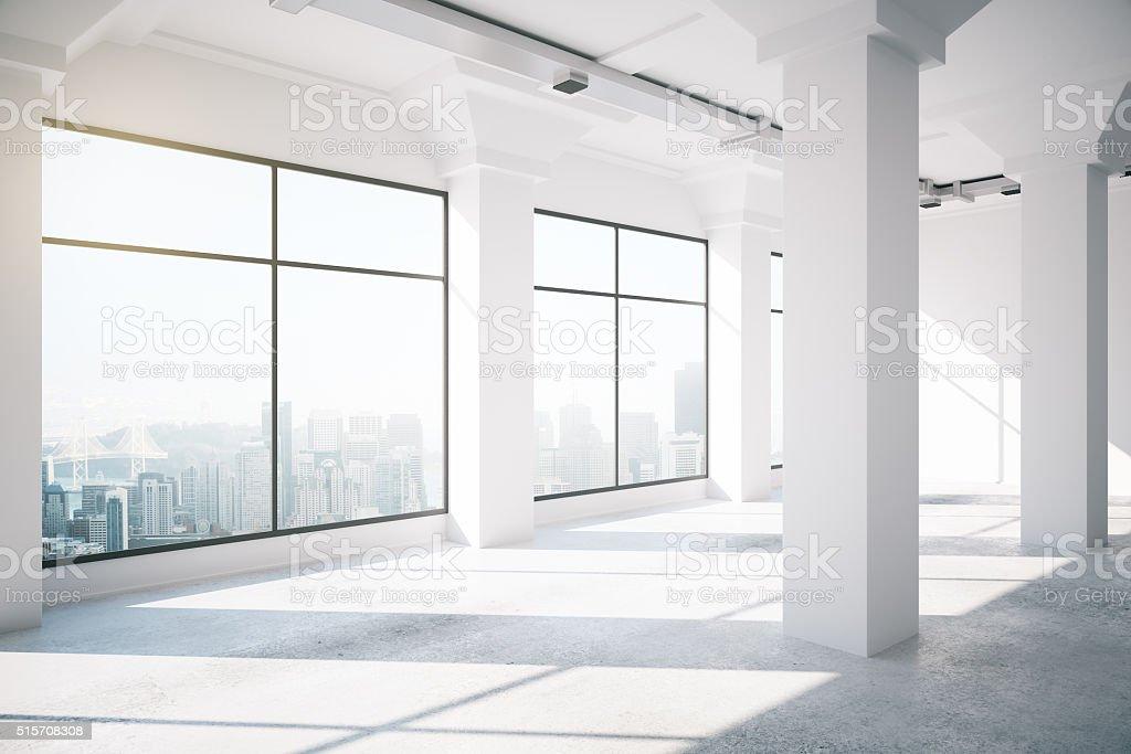 Empty white loft interior with big windows, 3d render stock photo