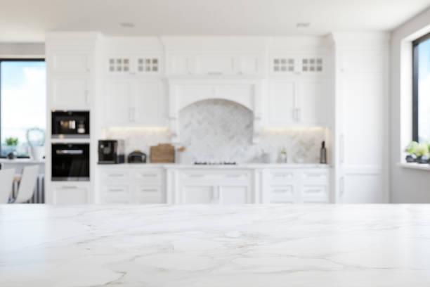 Empty White Marble Kitchen Countertop stock photo
