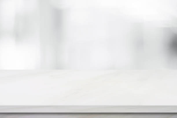 empty white marble over blur store background, product and food display montage - diminishing perspective stock photos and pictures