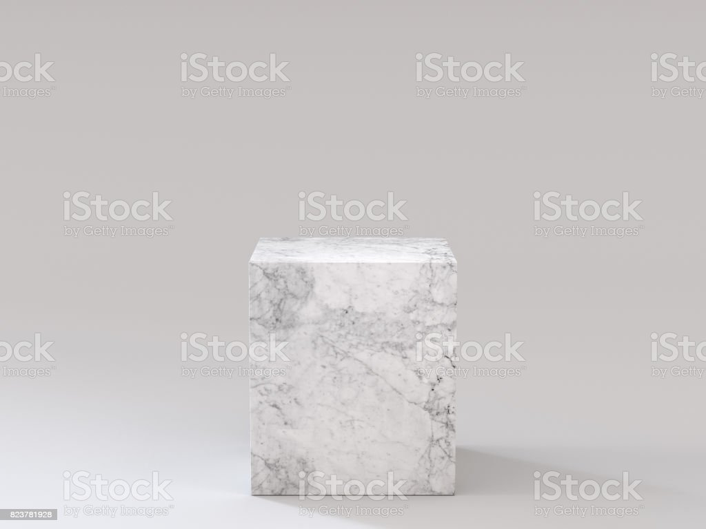 Empty white marble podium on white background. 3D rendering.
