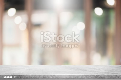 662984994 istock photo Empty white marble stone table top and blur glass window interior restaurant banner mock up abstract background - can used for display or montage your products. 1252828174