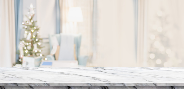 Empty White Marble Table Top With Abstract Warm Living
