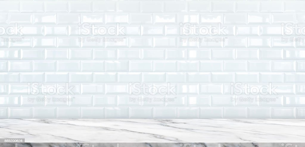 Empty White Marble Table Top With White Ceramic Tile Wall
