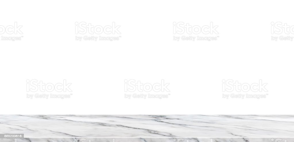 Empty white marble tabletop isolated with white space background,Mock up banner ads for display of product or replace your design background,Luxury modern theme stock photo