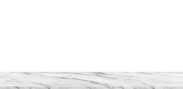 leere weiße marmor tischplatte isoliert mit weißen hintergrund, mock, banner-werbung für die anzeige von produkt oder ersetzen ihre design-hintergrund, modernes thema luxus - regal schwarz stock-fotos und bilder