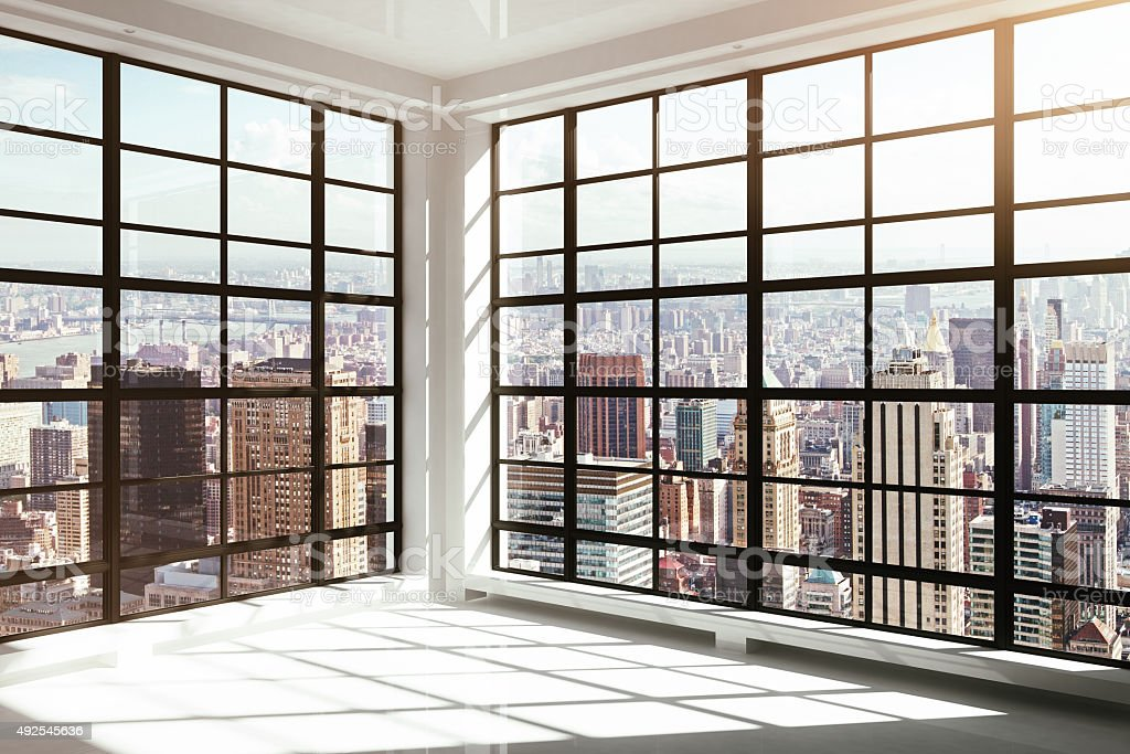 empty white modern interior stock photo
