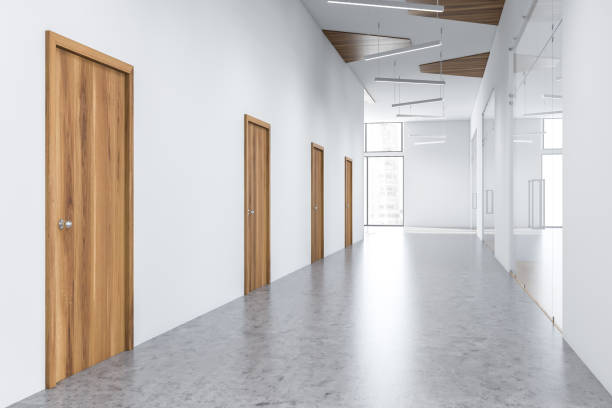Empty white office hall interior