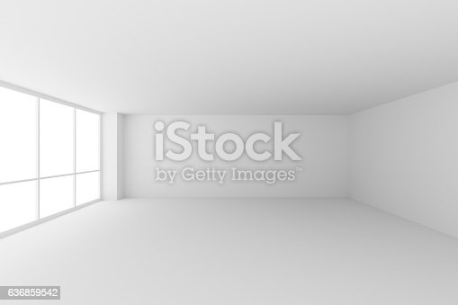 istock Empty white office room with large windows 636859542