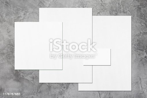 istock Empty white office stationery mockups on dark grey background 1176787683