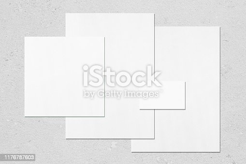 istock Empty white office stationery mockups on neutral light grey background 1176787603