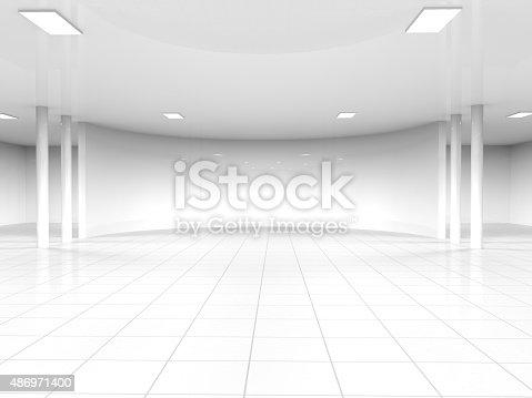 istock empty white open space 3D rendering 486971400