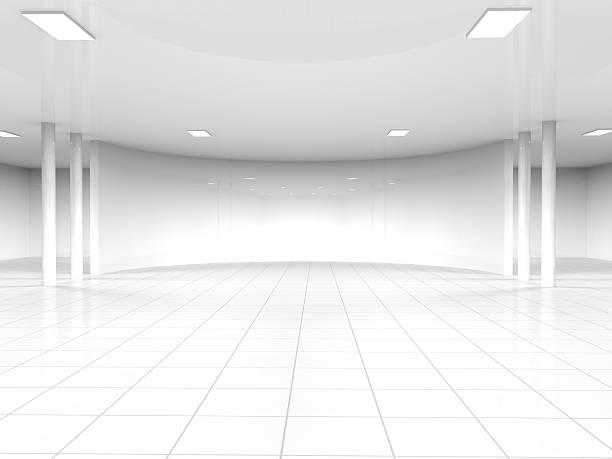 empty white open space 3D rendering Abstract modern architecture background, empty white open space interior with windows and gray concrete walls, 3D rendering showroom stock pictures, royalty-free photos & images