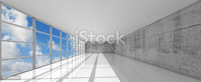 istock Empty white open space interior with windows, 3d 471958044
