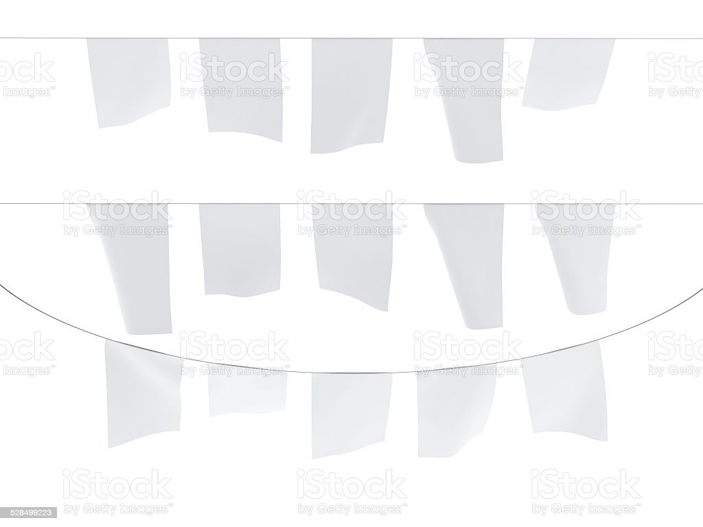 Empty White Party Decoration Flags Hanging on Rope stock photo