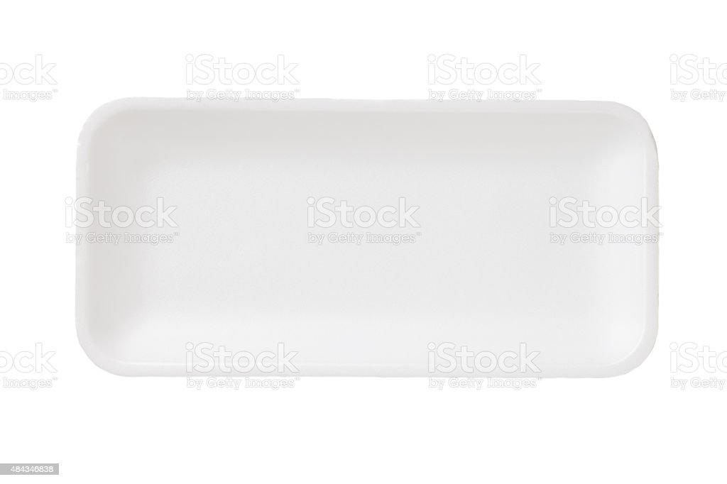 Empty white plastic food container stock photo