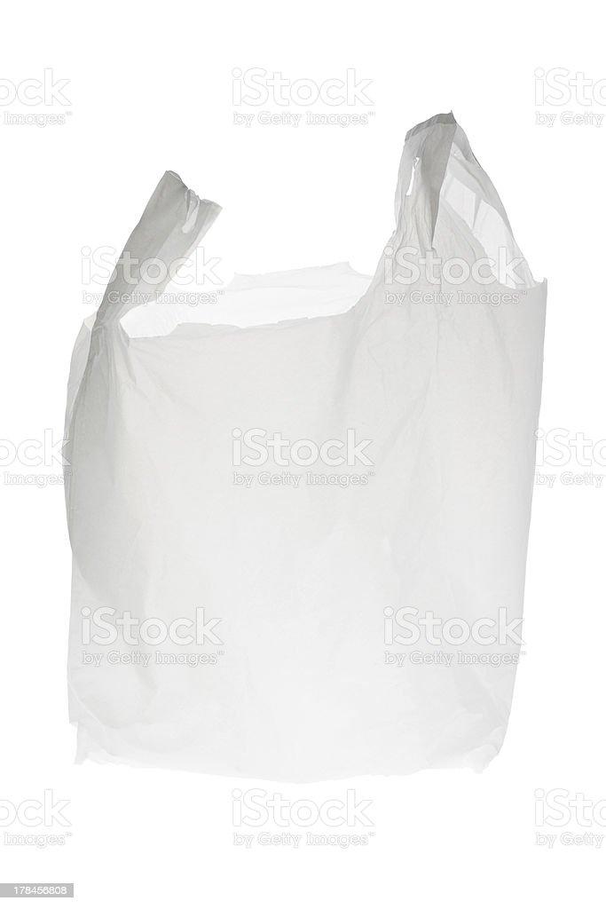 Empty white plastic shopping bag stock photo
