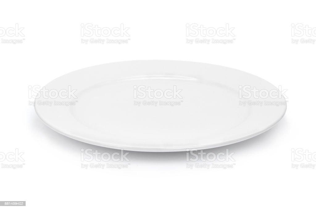 Blanc plaque vide seul sur fond blanc - Photo