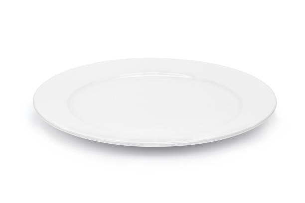 empty white plate isolated on white background - plate stock pictures, royalty-free photos & images