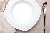 Empty white plate. On delicate beige tablecloth. Concept to include your food and your text.